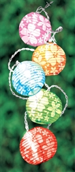 Round Lantern Light Set with White Hibiscus | Luau Party Supplies