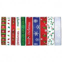 Christmas Narrow Ribbon Spool Assortment | Party Supplies