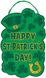 Happy St. Patrick's Day Large Sign w/Ribbon Hanger | Party decorations