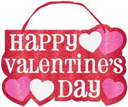 Valentine's Day Large Sign w/Ribbon Hanger | Valentines decorations