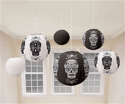 Black & Bone Lanterns | Halloween Hanging Decorations