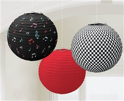 Classic 50's Round Printed Paper Lanterns | Party Supplies