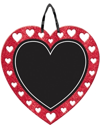 Chalkboard Heart Sign w/Ribbon Hanger | Party Supplies