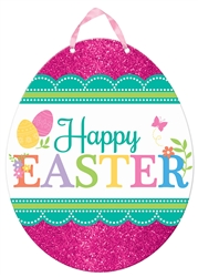 Happy Easter Egg Value Sign w/Ribbon Hanger | Party Supplies