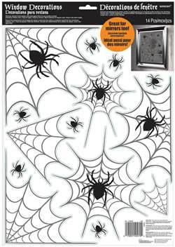 Modern Halloween Spider Web Window Decoration | Halloween Window Decorations