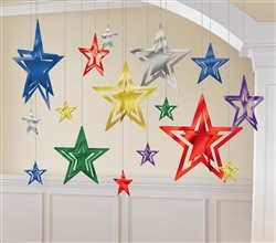Multi 3-D Foil Star Decorating Kit | Party Supplies