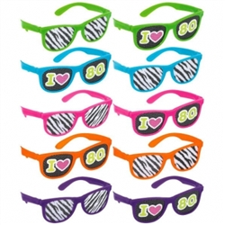80's Glasses w/Printed Lenses | Party Supplies