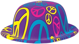 60's Peace Sign Bowlers Hat | Party Supplies