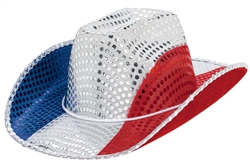 Patriotic Sequined Cowboy Hat | Party Supplies