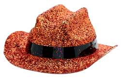 Orange Mini Glitter Cowboy Hat