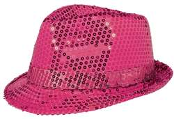 Hot Pink Sequin Fedora Hat | Party Supplies