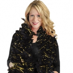 Black/Gold Hollywood Tinsel Feather Boa | Party Supplies
