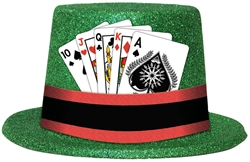 Glitter Top Hat w/Casino Playing Cards | Party Supplies