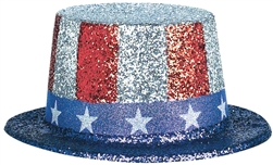 Patriotic Glitter Printed Top Hat | Party Supplies