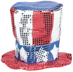 Patriotic Sequined Fabric Hat | Party Supplies