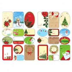 Traditional Christmas Adhesive Labels | Party Supplies