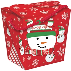 Snowman Jumbo Takeout Container w/Tag | Party Supplies