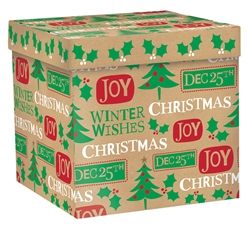 Kraft Christmas Messages Large Pop-Up Gift Box | Party Supplies