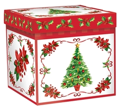 Traditional Poinsettia Small Pop-Up Gift Box | Party Supplies