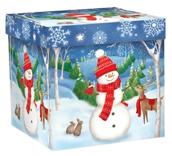 Woodland Snowman Medium Pop-Up Gift Box | Party Supplies