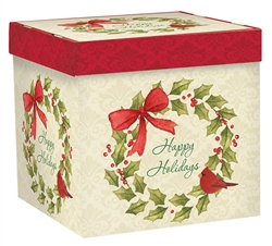Traditional Christmas Cardinal Small Pop-Up Gift Box | Party Supplies