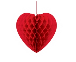 Red Heart-Shaped Honeycomb Hanging Decoration | Party Decorations