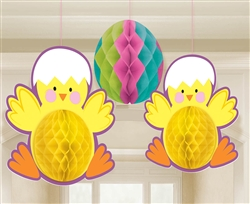 Chicks & Egg Honeycomb Decorations | Party Supplies