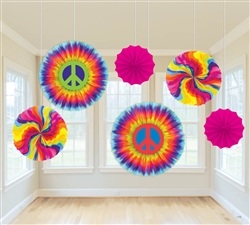 Feeling Groovy Paper Fan Decorations | Party Supplies