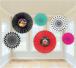 Classic 50's Printed Paper Fan Decorations | Party Supplies