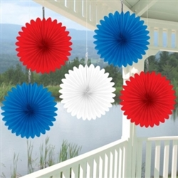 Patriotic Mini Paper Fan Assortment | Party Supplies