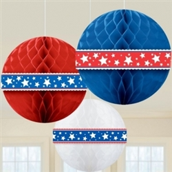 Patriotic Tissue Honeycomb Balls | Party Supplies