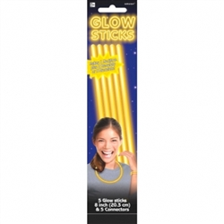 Yellow Glow Sticks, 5ct | Party Supplies