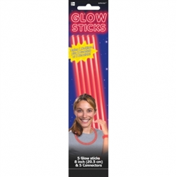 Red Glow Sticks, 5ct | Party Supplies