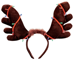 Moose Antler Headband w/Christmas Lights | Party Supplies