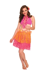 Pink/Orange Two-Tone Hula Skirt - Adult | Party Supplies