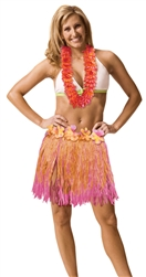 Pink/Orange Two-Tone Hula Skirt - Adult XL | Party Supplies