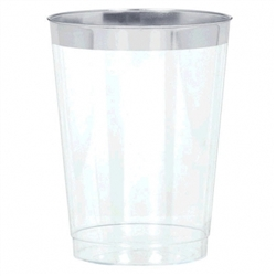 Premium Plastic Tumblers - Silver Trim | Party Supplies