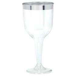 Clear Premium Plastic Wine Glasses - Silver Trim | Party Supplies