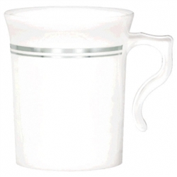 Premium Plastic Coffee Cups - Silver Trim | Party Supplies