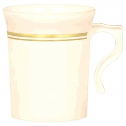 Premium Plastic Coffee Cups - Gold Trim | Party Supplies