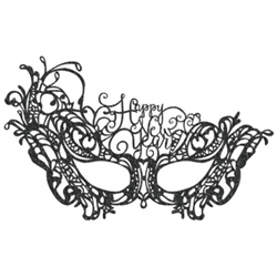 Happy New Year Lace Mask - Black | Party Supplies