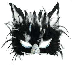 Black Cat Feather Mask | Halloween Party Supplies