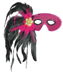 Fuchsia/Black Feather Mask | Halloween Party Supplies