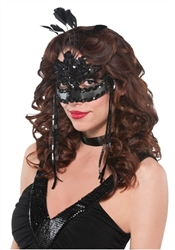 After Dark Feather Mask | Halloween Party Supplies