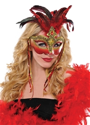 Venetian Luxe Feather Mask | Party Supplies