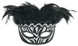 Zebra Stripe Feather Mask | Halloween Party Supplies