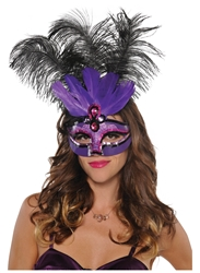 Purple Temptation Feather Mask | Party Supplies