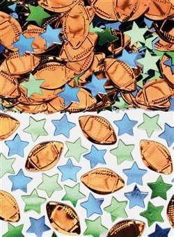 Football & Stars Metallic Confetti Mix | Football Party Supplies