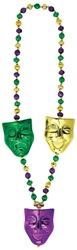 Comedy/Tragedy Mask Bead Necklace | Mardi Grad Mask Beads