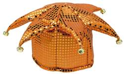 Orange Sequined Jester Hat | Party Supplies
